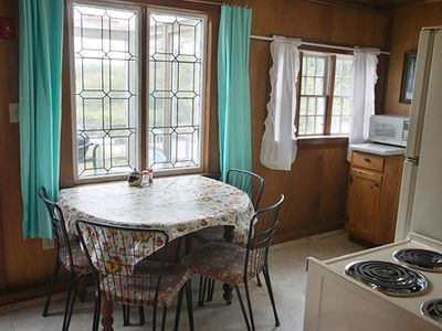 Biddeford cottage rental - Antique kitchen windows.
