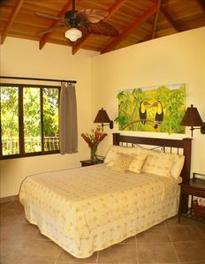 Comfortable master suites with custom furnishings and original oils