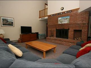 Stowe house photo - Wood-Burning Fireplace and Flat-Screen TV in the Living Room
