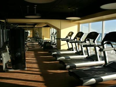 Overlook the beach & pool area while working out, enjoy cold juice when done.