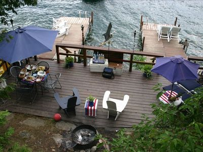 """Lido"" deck with fire ring plus u-shaped docks set for sunset"
