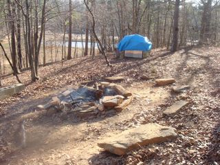 Hartwell Lake house photo - Fire Pit w stone pig cooker (kept locked)
