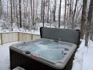 Ludlow house photo - NEW HOT TUB for the 2013 ski season! Private setting on the back deck.