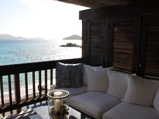 East End condo photo - Main deck sitting area overlooking St. John