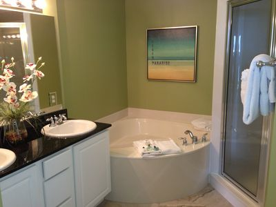 Master bath with separate tub and shower