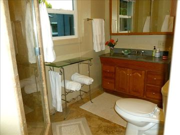 Recreation Bath Room w/ Travertine stone w/ Granite counter tops, Walk in Shower