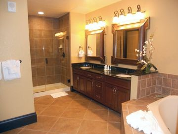 Master Bathroom. All bathrooms have hairdryer.