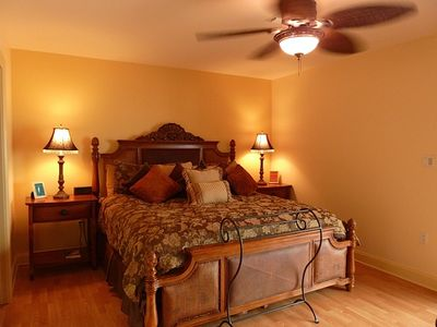 Master bedroom has king size bed with private balcony and fantastic view.