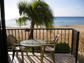 Makaha condo photo - Condo Lanai with 4 Steps to the Beach