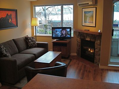 Bright,modern studio.Warm and cozy gas fireplace.Newly renovated with new beds.