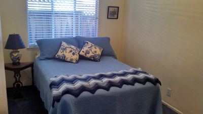 Middle (smallest) bedroom with full-sized bed