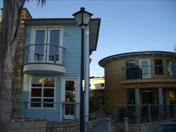 Avila Beach condo rental - Front view of condo (Blue) with deck that has an ocean view.
