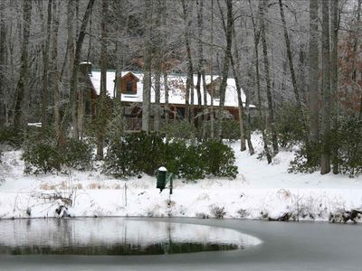 Brevard cabin rental - Cabin and pond in winter