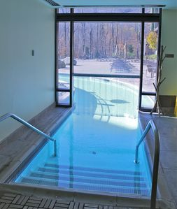 Indoor heated pool entrance