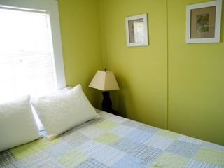 Falmouth house photo - queen bed in a room that is not nearly as bright as this appears!