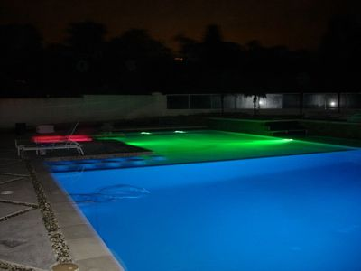 Back Yard Pool at Night with lights! Beautiful-Must See!