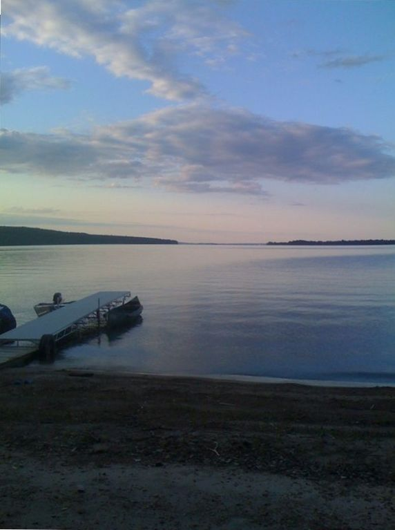 Keeseville house rental - View from our beach, with our dock and boats at sunset