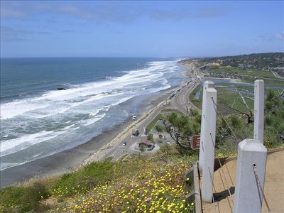 Del Mar house rental - View of Torrey Pines Beach from Torrey Pines State Park. Park pass included.