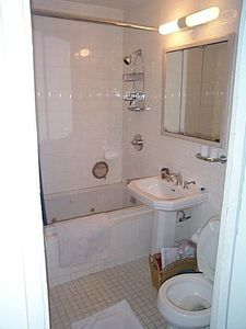 Bathroom with shower and whirlpool bath.