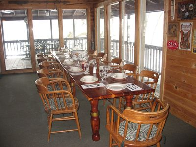 Great Room table seats 12 with spectacular views of Platte River