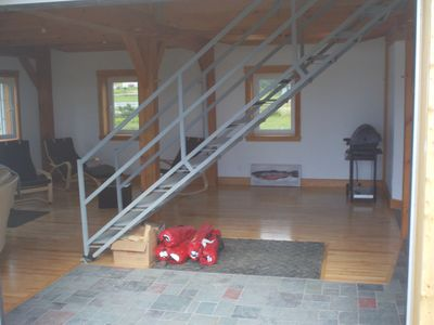 recycled stairs w/ traditional 1 3/4 inch maple floor + natural slate