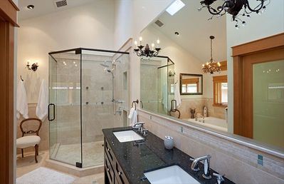 Master King ensuite with huge tub, chandeliers,& separate toilet and bidet area