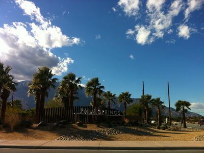 Beautiful blue winter skies above Palm Springs welcome sign