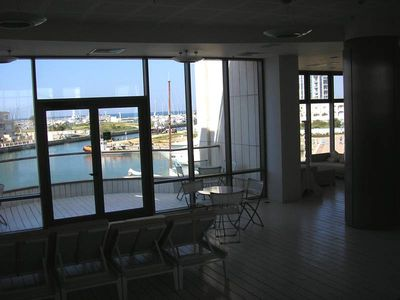 Herzliya Marina apartment rental - The outside balcony from the pool.