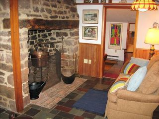Gettysburg farmhouse photo - Stone Fireplace in Smokehouse Cottage