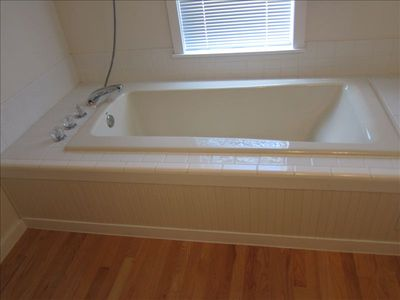 Giant soaker tub, there is also a shower.
