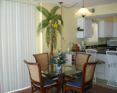 Our Tropical Dinning Table With Hand Painted Mural To Match Room Decor!