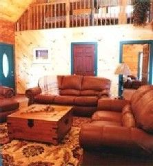 Mountain View house photo - Cedar Log Living Room And Upstairs Loft