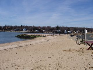 Guilford cottage photo - Small, sandy, association beach with fishing jetty