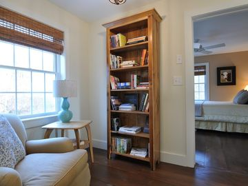 Enjoy a book in the reading nook. There are books for all ages and interests.