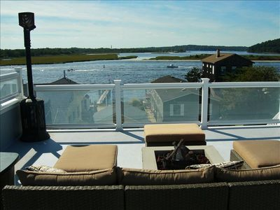 Roof Deck & Firepit with West view of Shrewsbury and Navesink Rivers