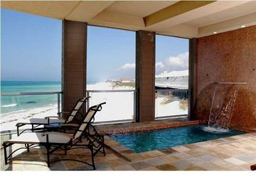 Inlet Beach house rental - Pool. It is heated with jets and waterfall. Most spectacular sunsets from pool