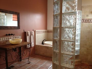 Master bath w/ glass block shower, jetted air tub, separate vanities