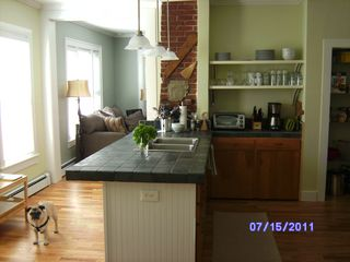 Winter Harbor house photo - Italian porcelean countertops and exposed chimney in our spacious kitchen