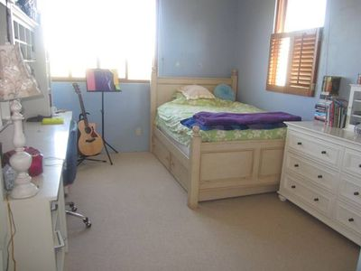 Girls teen room. One double with trundle below.