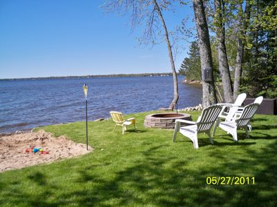 Black Lake cottage rental - Partial view of lakefront with unique beach area for children.