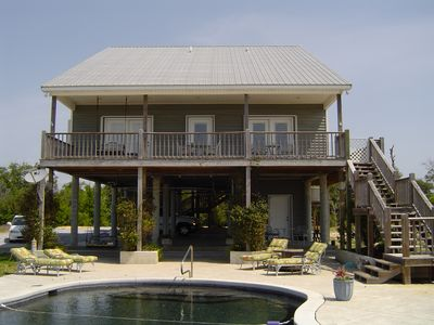 Ocean Springs house rental - View overlooking pool and Gulf of Mexico