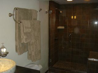 Horseshoe Bay townhome photo - Master Bath custom oversized slate & glass shower