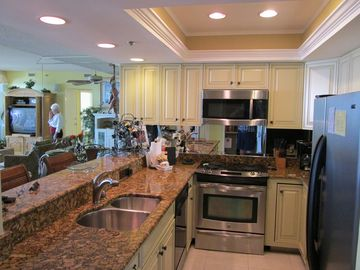 Our kitchen has been remodeled with granite counters, stainless appliances.