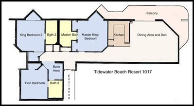 Tidewater 1017. 2 Kings, 2 Twins, 2 Bunks, Queen Sleeper in Den. 3 Baths.