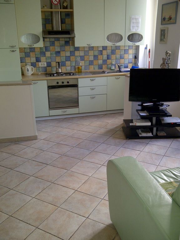 Menton apartment rental - Open plan living and kitchen area