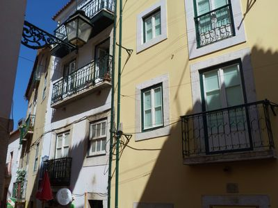 Alfama apartment rental - Outside of the apartment, it is located on the 2nd floor of the white building