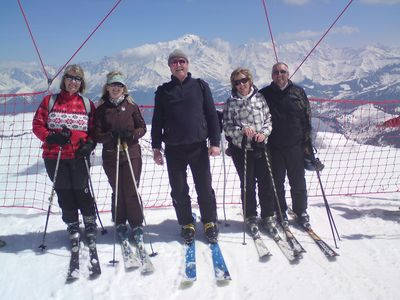 Mt Blanc, Megeve, and happy skiers