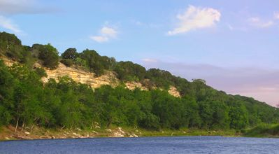 Brazos River and Chalk Bluff on Ranch shoreline