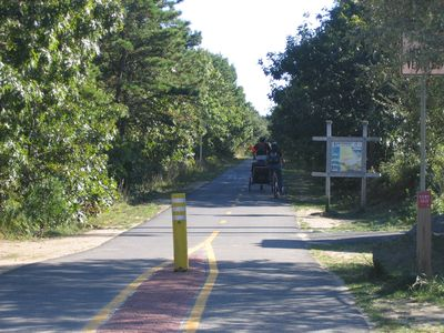 Bike Trail that spans the entire cape. Two tenths of a mile from cottage.