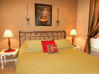 King Bed in Second Bedroom, large closet, HDTV. Private door into main bathroom.